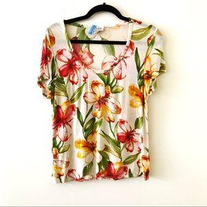 ST JOHN SPORT Hibiscus Floral V-Neck Tshirt